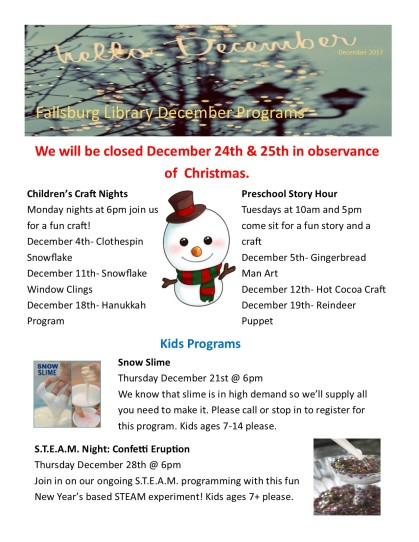 December '17 Program Newsletter1